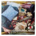 Cesta de fuentes de costura tejas  ceramicas