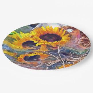 Cesta de girasoles platos de papel