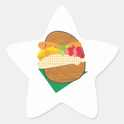 Cesta de la comida campestre pegatina forma de estrella