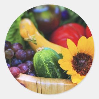 Cesta de la cosecha del jardín etiquetas redondas