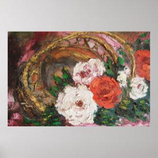 Cesta de la flor de la pintura de Ana Hayes del po Póster