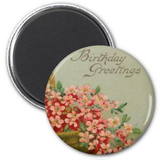 Cesta de la flor del cumpleaños del vintage imán para frigorifico