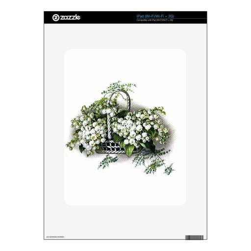 Cesta de la flor del vintage calcomanía para el iPad