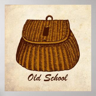 Cesta de la pesca de la escuela vieja poster