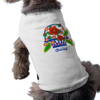 Cesta de las flores camisetas de mascota