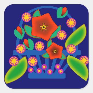 Cesta de las flores colcomanias cuadradases