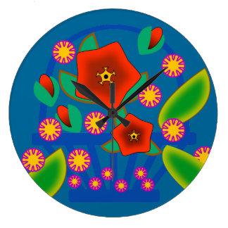 Cesta de las flores reloj de pared