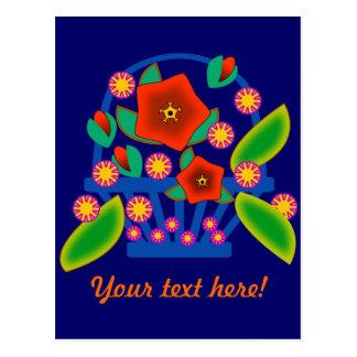Cesta de las flores tarjeta postal