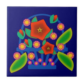 Cesta de las flores tejas