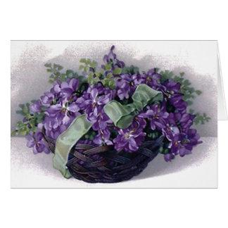 Cesta de las violetas del vintage tarjeta de felicitación