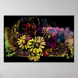 Cesta de los corazones de las flores impresiones