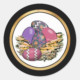 Cesta de los huevos de Pascua coloridos 06 Etiqueta Redonda