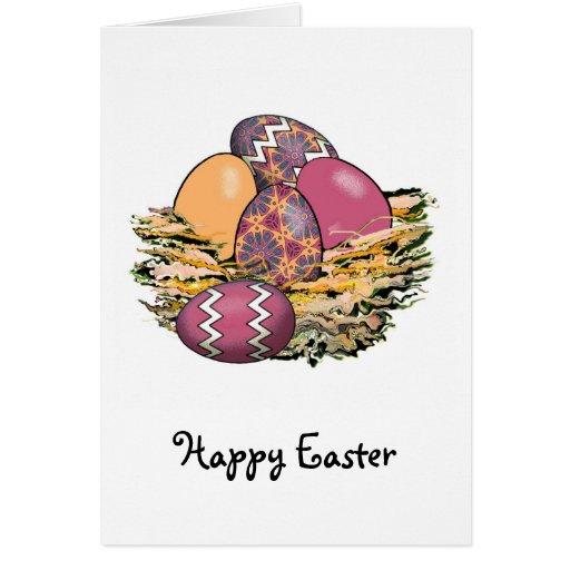 Cesta de los huevos de Pascua coloridos 07 Tarjeta De Felicitación