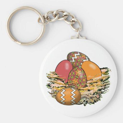 Cesta de los huevos de Pascua coloridos 11 Llavero Redondo Tipo Pin