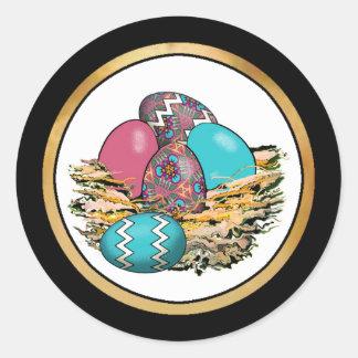Cesta de los huevos de Pascua coloridos 12 Etiqueta Redonda