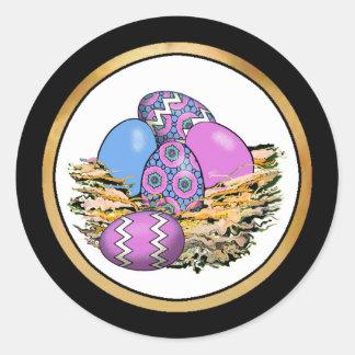 Cesta de los huevos de Pascua coloridos 14 Etiqueta Redonda