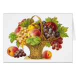 Cesta de los melocotones y de frutas - arte del tarjeta de felicitación