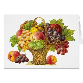 Cesta de los melocotones y de frutas - arte del vi felicitación
