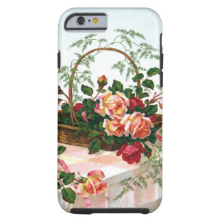 Cesta de los rosas todavía del vintage de vida funda resistente iPhone 6