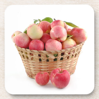 Cesta de manzanas, cosecha, otoño, caída posavaso
