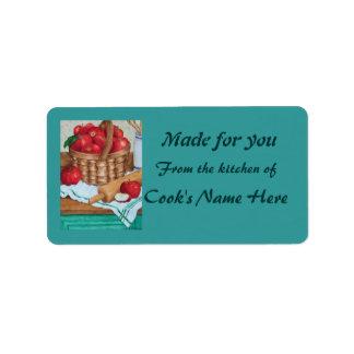 Cesta de manzanas - de la cocina de - etiqueta etiqueta de dirección