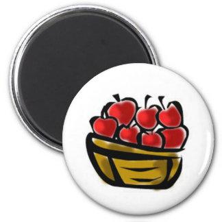 Cesta de manzanas imán redondo 5 cm