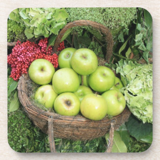 Cesta de manzanas posavasos