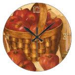 Cesta de manzanas - reloj de la cocina
