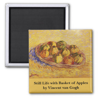 Cesta de manzanas, todavía del vintage arte de Van Imanes De Nevera