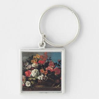 Cesta de mimbre de flores llavero personalizado
