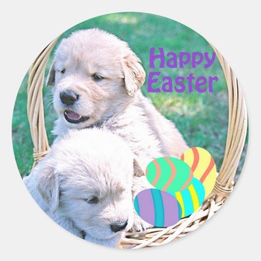 Cesta de Pascua del perrito del golden retriever Pegatina Redonda