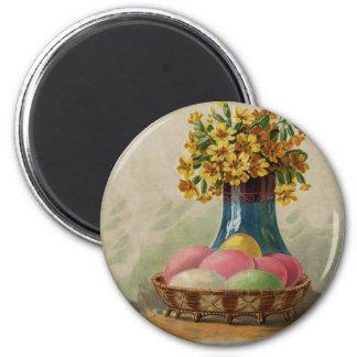 Cesta de Pascua del vintage con los huevos colorea Imán Redondo 5 Cm