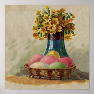 Cesta de Pascua del vintage con los huevos colorea Impresiones