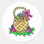 Cesta de Pascua Etiquetas Redondas