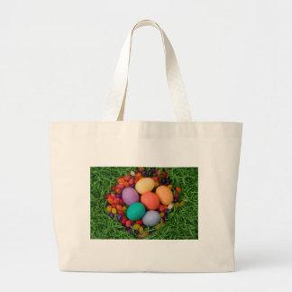 Cesta de Pascua - la primavera coloreada Eggs haba Bolsa De Mano