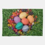 Cesta de Pascua - la primavera coloreada Eggs haba Toallas De Cocina
