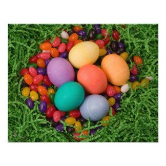 Cesta de Pascua - la primavera coloreada Eggs haba Arte Con Fotos