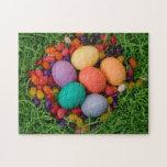 Cesta de Pascua - la primavera coloreada Eggs haba Rompecabezas Con Fotos
