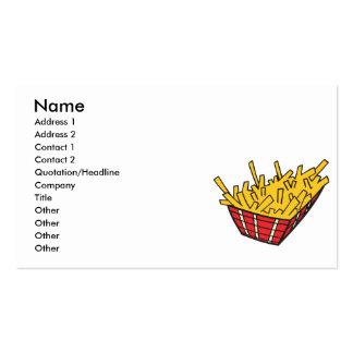 cesta de patatas fritas tarjetas de visita