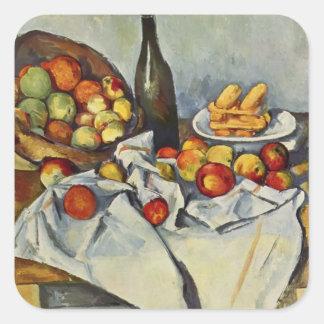 Cesta de Paul Cezanne- de manzanas Pegatina