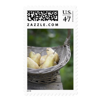 Cesta de peras recientemente escogidas sello