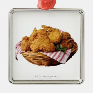 Cesta de pollo frito adorno cuadrado plateado