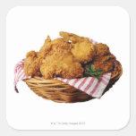 Cesta de pollo frito pegatina cuadrada