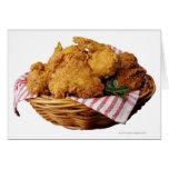 Cesta de pollo frito tarjeta de felicitación