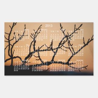 Cesta de puesta del sol; Calendario 2013 Pegatina Rectangular