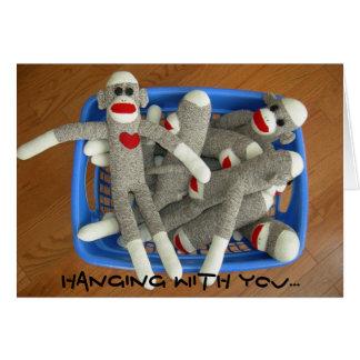 cesta de tarjeta de los monkies del calcetín