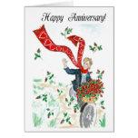 Cesta de tarjeta del aniversario de los rosas