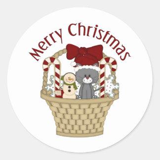 Cesta del gato del día de fiesta del navidad pegatina redonda