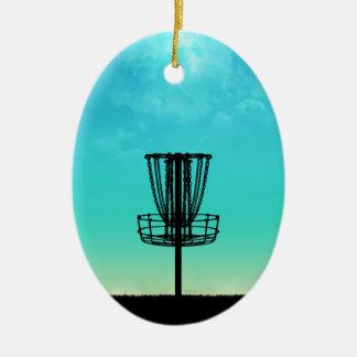 Cesta del golf del disco adorno navideño ovalado de cerámica