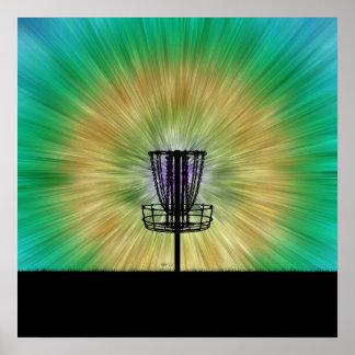 Cesta del golf del disco del teñido anudado póster